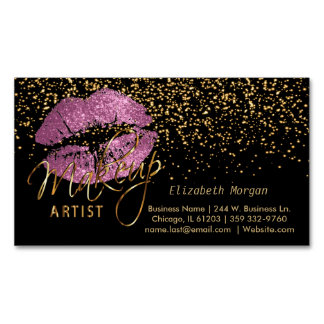 Makeup Artist with Gold Confetti & So Pink Lips Magnetic Business Card