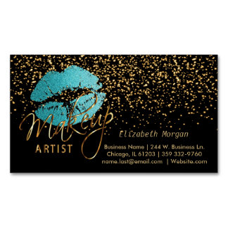 Makeup Artist with Gold Confetti & Teal Lips Business Card Magnet