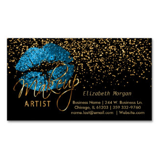 Makeup Artist with Gold Confetti & Turquoise Lips Business Card Magnet