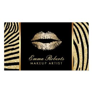 Makeup Artist Zebra Stripes Gold Lips Elegant Business Card
