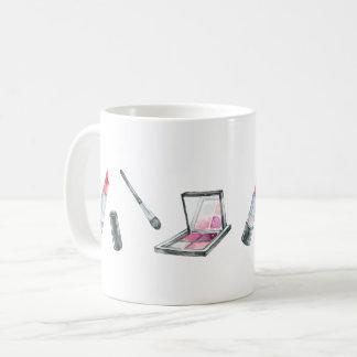 Makeup Artwork - Red Lipstick and Pink Eye Shadow Coffee Mug