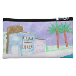 Makeup Bag with Caribbean Scene