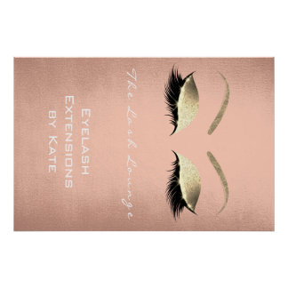 Makeup Beauty Lashes Name White Gold Silk Eyebrows Poster