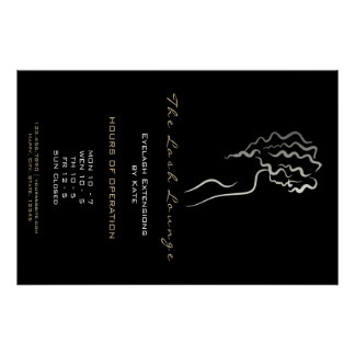 Makeup Beauty Lashes SPA Logo Gray Adress Opening Poster