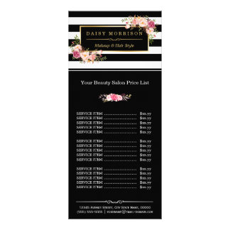 Makeup Beauty Salon Gold Floral Stripes Price List Full Colour Rack Card