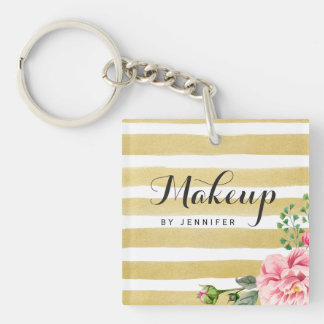 Makeup Beauty Salon Gold Stripes Pink Flower Decor Double-Sided Square Acrylic Keychain