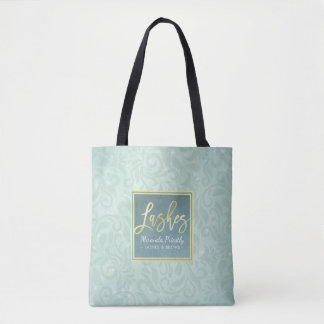 Makeup Beauty Salon Gold & Turquoise Damask Floral Tote Bag