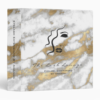 Makeup Beauty Salon Logo Marble Gold Eyebrows 3 Ring Binders