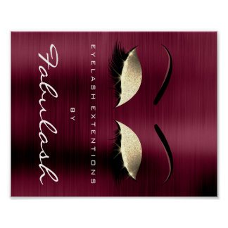 Makeup Beauty Salon Name Gold Burgundy Lux Poster