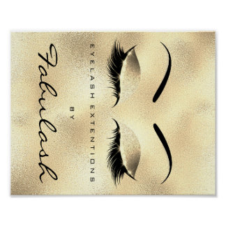 Makeup Beauty Salon Name Gold GlamGlitter Eyebrows Poster