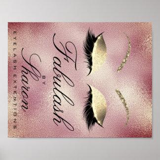 Makeup Beauty Salon Name Gold Glitter Sharon Pink Poster