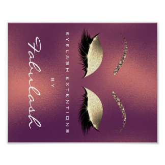 Makeup Beauty Salon Name Gold Lashes Copper Poster