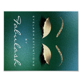 Makeup Beauty Salon Name Gold Lashes Tropical Poster