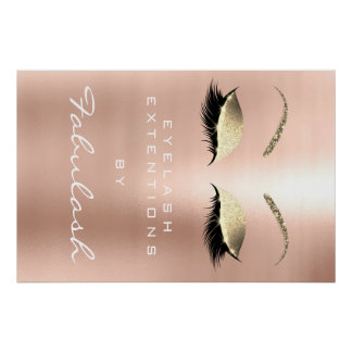 Makeup Beauty Salon Name Gold Pink Skinny Eyebrows Poster