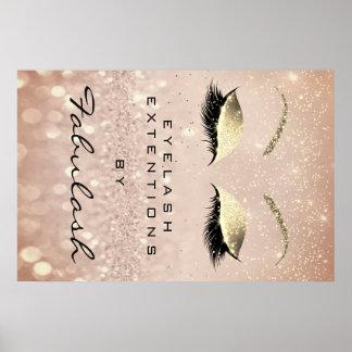 Makeup Beauty Salon Name Rose Gold Blush Eyebrow Poster
