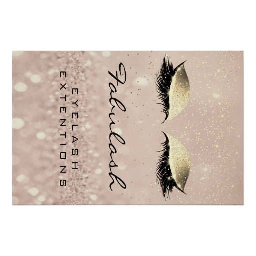 Makeup Beauty Salon Name Rose Gold Glam Eyebrow Poster