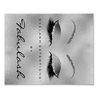 Makeup Beauty Salon Name Silver Glitter Glam Poster