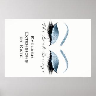 Makeup Beauty Salon Name White Blue Black Eyebrows Poster