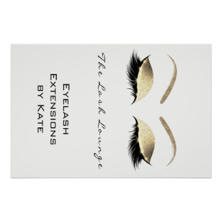 Makeup Beauty Salon Name White Gold Black Eyebrows Poster