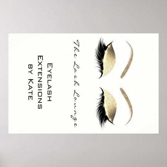 Makeup Beauty Salon Name White Gold Black Eyebrows Poster