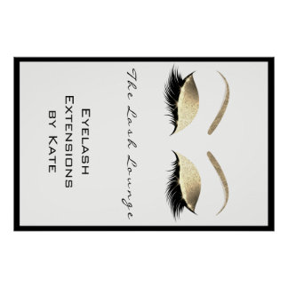 Makeup Beauty Salon Name White Gold Glam Eyebrows Poster
