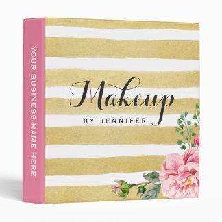 Makeup Beauty Salon Pink Floral Gold Stripes Binder