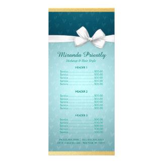 Makeup Beauty Salon Price List Blue & White Ribbon Rack Cards