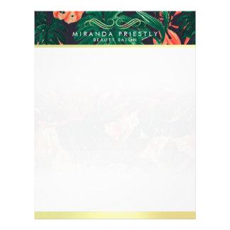 Makeup Beauty Salon Tropical Floral & Gold Script Letterhead