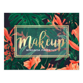 Makeup Beauty Salon Tropical Floral & Gold Script Postcard