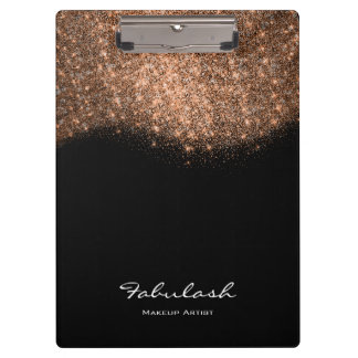 Makeup Beauty Studio Glitter Rose Gold Black White Clipboard