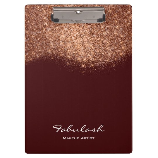 Makeup Beauty Studio Glitter Rose Gold Burgundy Clipboard