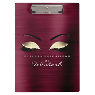 Makeup Beauty Studio Lashes Burgundy Gold Clipboard