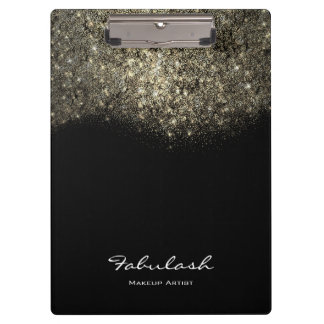 Makeup Beauty Studio Lashes Gold Confetti Glitter Clipboard