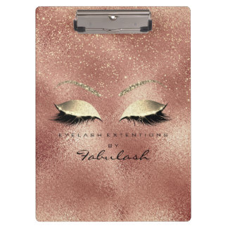 Makeup Beauty Studio Lashes Rose Gold Glass Clipboard