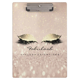 Makeup Beauty Studio Lashes Rose Gold Glitter Clipboard