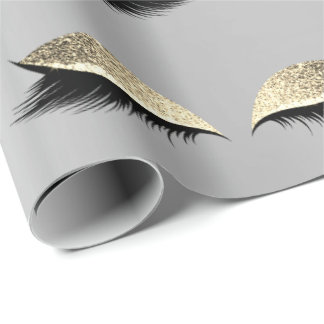 Makeup Blush Eye Beauty Silver Gold Glitter Lashes Wrapping Paper
