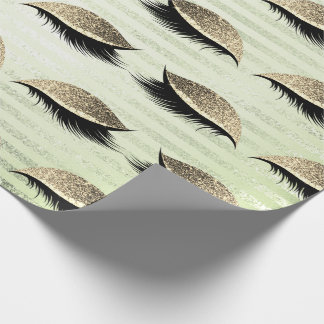 Makeup Blush Eyes Stripes Mint Gold Glitter Lashes Wrapping Paper