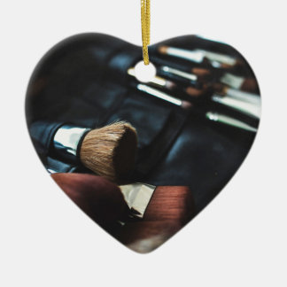 Makeup Brushes - Beauty Print Ceramic Heart Ornament