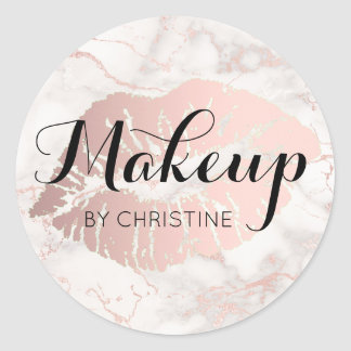 makeup calligraphy on big lips classic round sticker