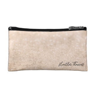 Makeup Cosmetic Coin Clutch - Champagne Glitter