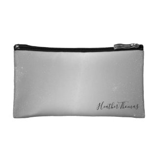 Makeup Cosmetic Coin Clutch - Silver Confetti