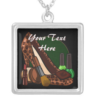 Makeup Cosmetics and Leopard Print Shoe Silver Plated Necklace