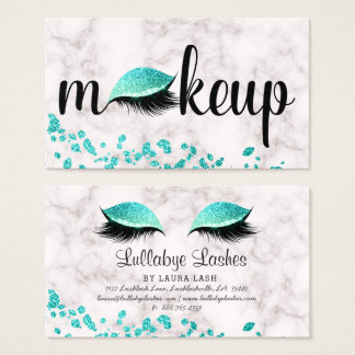 Makeup Eye Lash Aqua Blue Glitter Marble Trendy Business Card