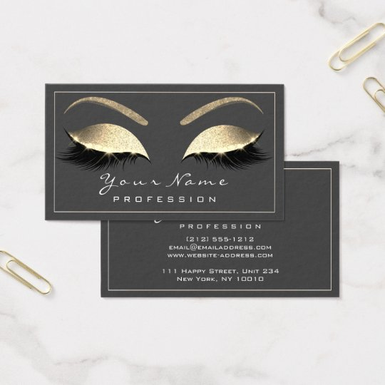 Makeup Eyebrow Beauty Lashes Glitter Gold Grey VIP Business Card