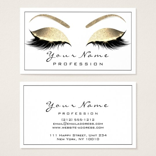 Makeup Eyebrow Beauty Lashes Glitter Gold White Business Card