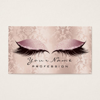 Makeup Eyebrow Eye Lashes Damask Glitter SPA Pink Business Card