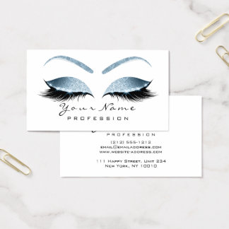 Makeup Eyebrow Eyes Lashes Glitter Blue White Business Card