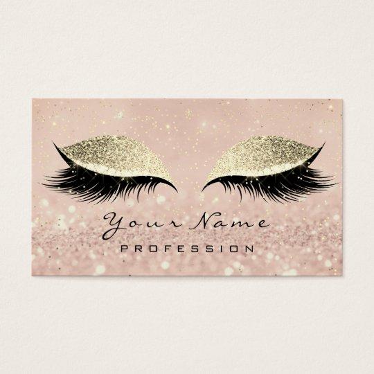 Makeup Eyebrow Eyes Lashes Glitter Blush Gold Business Card