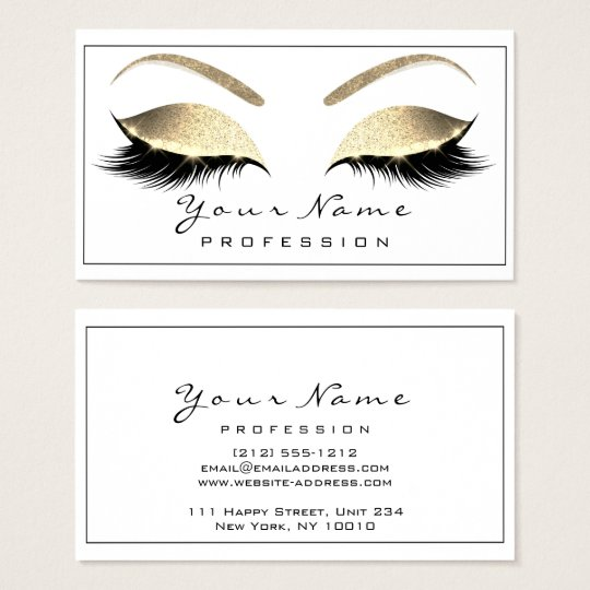 Makeup Eyebrow Eyes Lashes Glitter Gold White1 Business Card