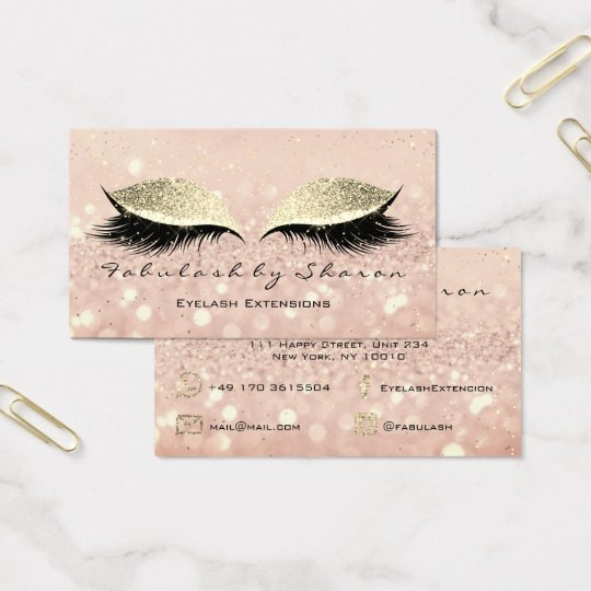 Makeup Eyebrow Lashes Extension Glitter Gold Blush Business Card